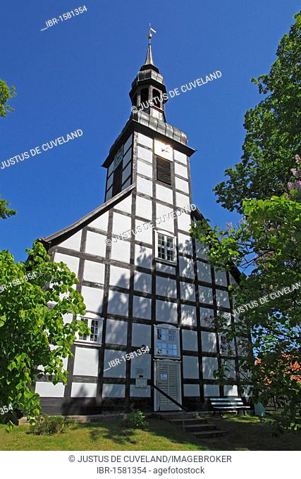 Historic timber-framed church in Ahlbeck, Ahlbecker Dorfkirche, build in 1754, Ahlbeck, Uecker-Randow district, Mecklenburg-Western-Pomerania, Germany, Europe