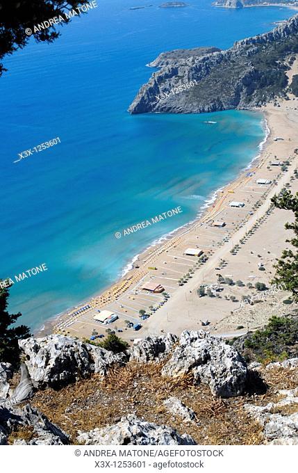 Tsampika beach from above Island of Rhodes Greece
