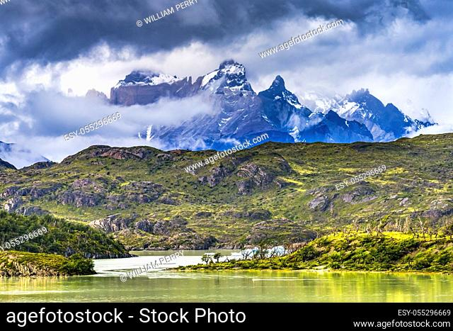 Grey Lake Paine Horns Three Granite Peaks Torres del Paine National Park Patagonia Chile
