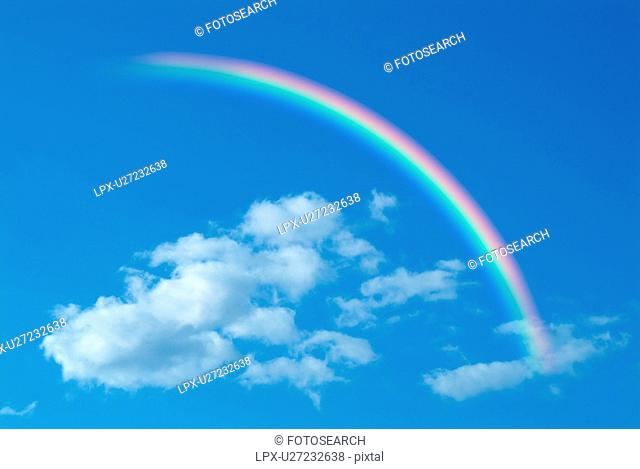 Clouds and rainbow in blue sky, computer graphic