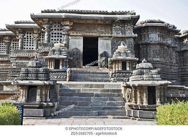 Close up of North entrance to Hoysaleshvara Temple, Halebid, Karnataka, india