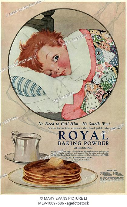 The boy in bed smells the griddle cakes made with ROYAL BAKING POWDER - and he'll be down to breakfast in a jiffy !