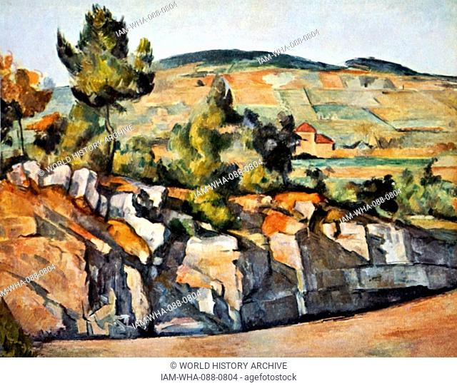 Painting titled 'Mountains in Provence' by Paul Cézanne (1839-1906) a French artist and post-impressionist painter. Dated 19th Century