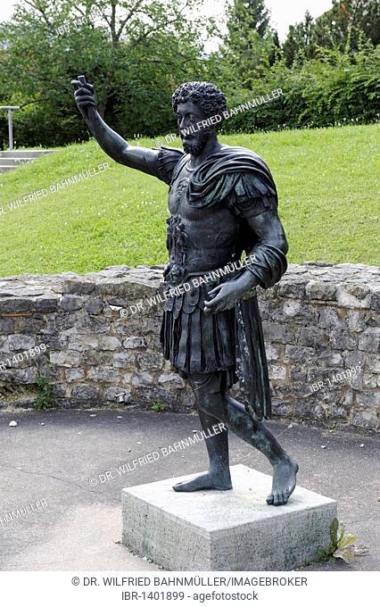 Emperor Marc Aurel, statue, Limes Museum Aalen, Baden-Wuerttemberg, Germany, Europe