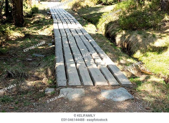 Wooden boardwalk in the National park Krkonose Giant mountains, Czech Republic