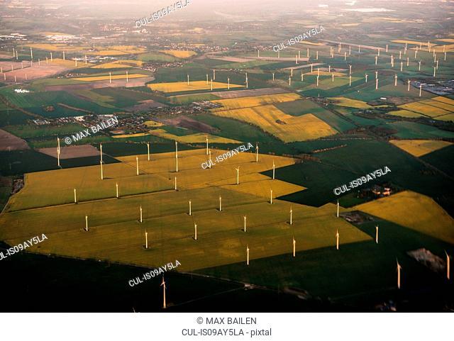 Wind turbines on field enroute Helsinki-Berlin, Germany