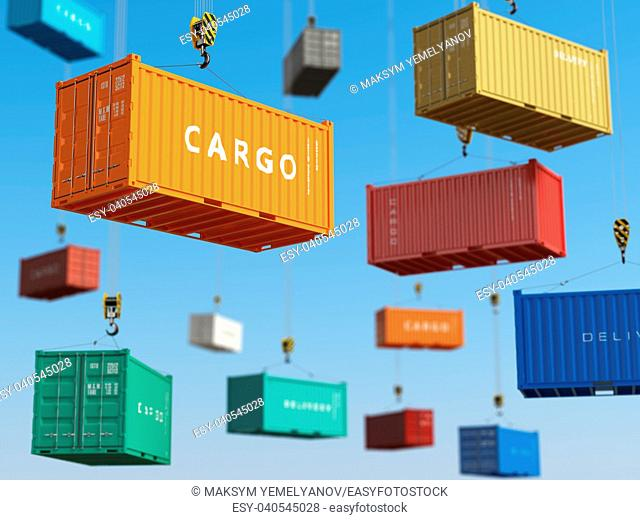 Cargo shipping containers in storage area with forklifts. Delivery background concept. 3d