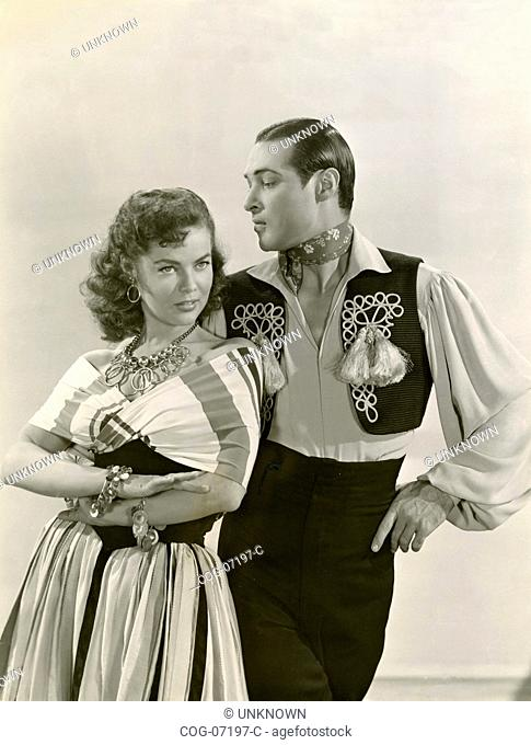 Actors Anthony Dexter and Dona Drake in a scene from the film Valentino, USA