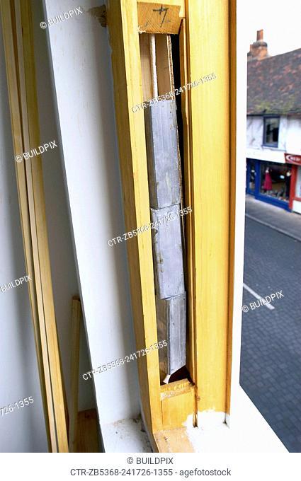 Detail of sash window weights