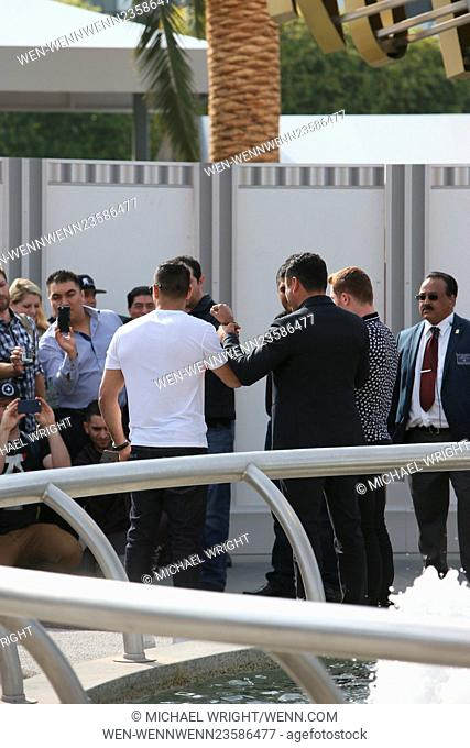 Amir Kahn and Canelo Alvarez seen with Oscar De La Hoya at Universal studios where they came to promote their next fight on television show 'Extra'