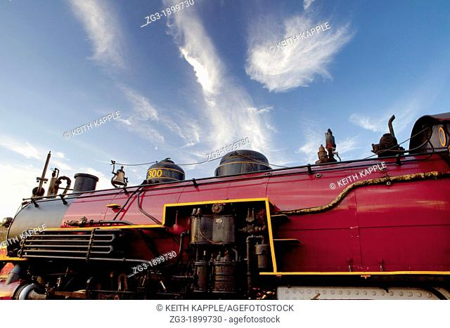 Side view of a Steam Locomotive, Texas State Railroad, 1881, Rusk, Texas