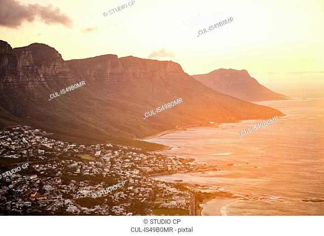 View from Lions Head Mountain to Camps Bay, Western Cape, Cape Town, South Africa, Africa
