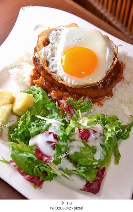 Meat; egg; potato; and salad set