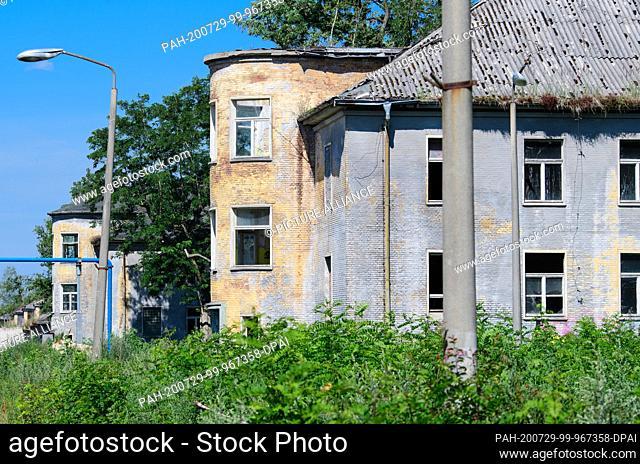 14 July 2020, Brandenburg, Potsdam: Ruins on the former barracks grounds in Krampnitz. A residential quarter for up to 10
