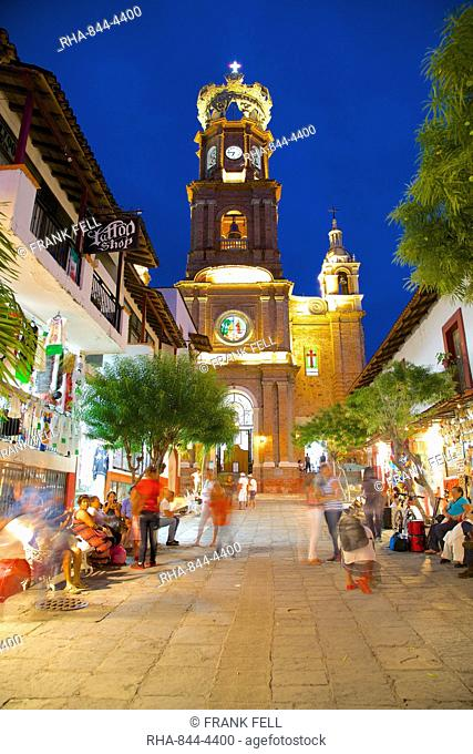 View of Parroquia de Guadalupe (Church of Our Lady of Guadalupe) at dusk, Downtown, Puerto Vallarta, Jalisco, Mexico, North America