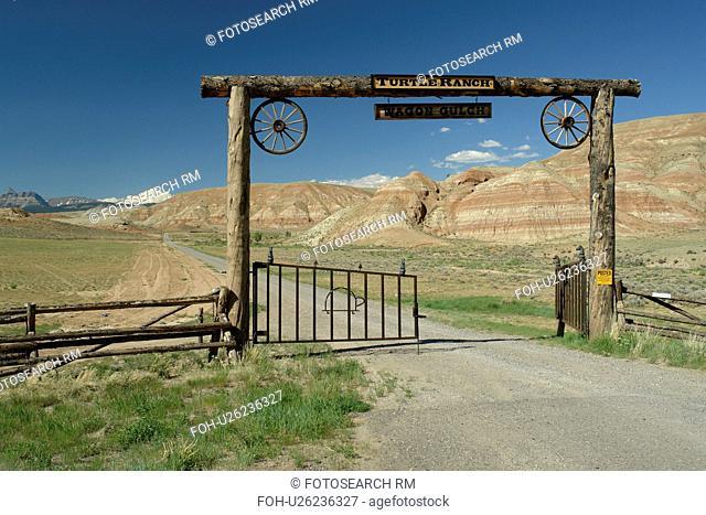 Dubois, WY, Wyoming, Turtle Ranch, gate, open range, prairie