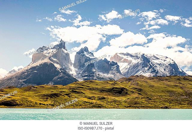 Landscape over Grey Lake and Cuernos del Paine, Torres del Paine national park, Chile