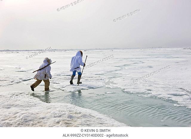 Two Inupiaq Eskimo hunters wearing their Eskimo parka's Atigi carry a rifle and walking stick while walking over the shore ice along the Chukchi Sea, Barrow