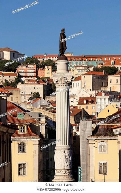 Column with the statue of King Pedro IV at the Praca de Dom Pedro IV, Baixa, Lisbon, Portugal