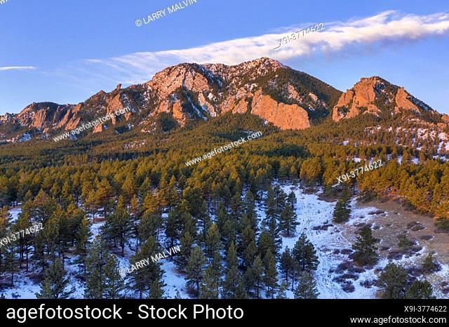 Aerial photo of Bear Peak along the Boulder, Colorado foothills just after sunrise in winter