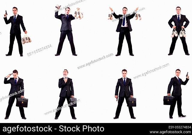 Businessman with money sacks, briefcase and handgun