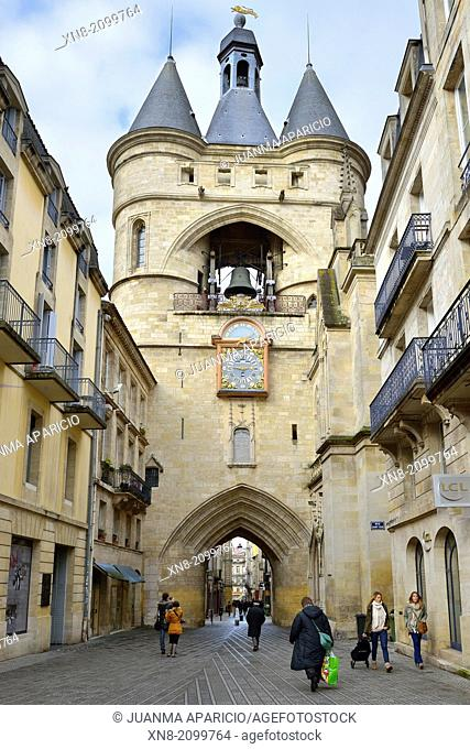 Bell tower of the fifteenth century in the district of St. Eloi in the neighborhood of Grosse Cloche, Bordeaux, France, Europe