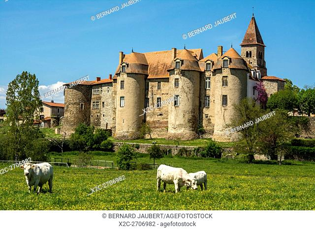 The priory of Pommiers village. Forez. Loire. Auvergne. France