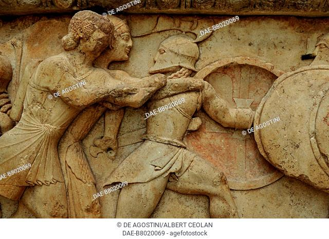 Artemis and Apollo attacking a giant, detail of the Gigantomachy, relief, north frieze of the Siphnian Treasury, 530-525 BC, from Delphi, Greece