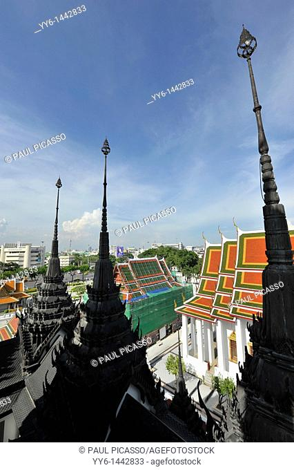 The spires of loha prasat, view from the top of the temple, Bangkok, thailand