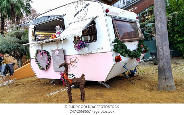 Sweet caravan offering hot chocolate and biscuits