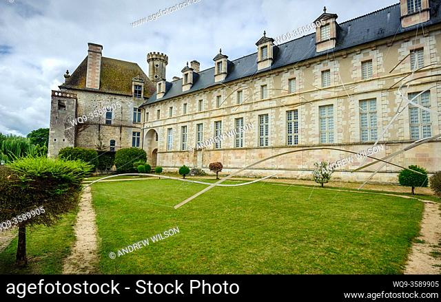 Courtyard of the Abbey church of Saint Savin, Indres, France. The Abbey became a World Heritage Site in 1983