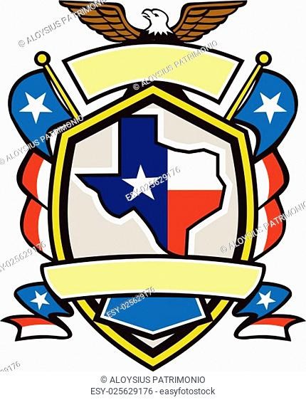 Illustration of coat of arms style emblem of Texas state map draped in its state flag with american eagle up on top and unfurled Texan lone star flags on side...