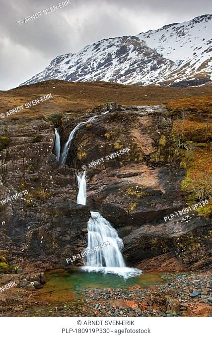 Meeting of Three Waters, waterfall at the foot of the Three Sisters of Glen Coe / Glencoe in winter, Highlands, Scotland, Great Britain