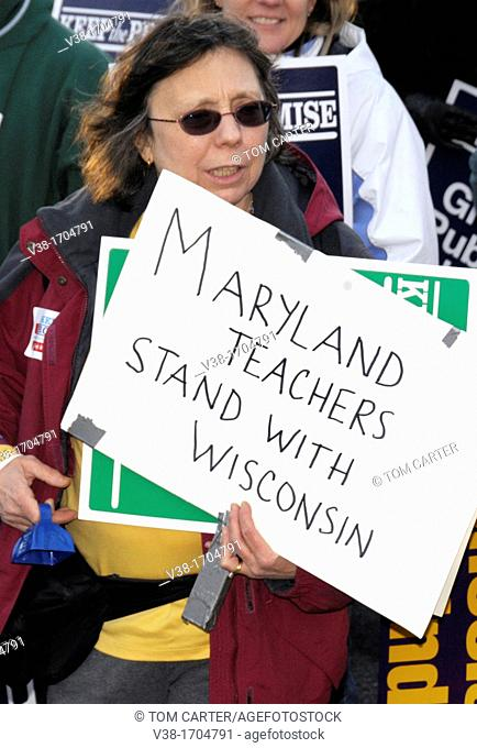 One of the many union protesters to march on the Maryland State Capital in Annapolis, Maryland