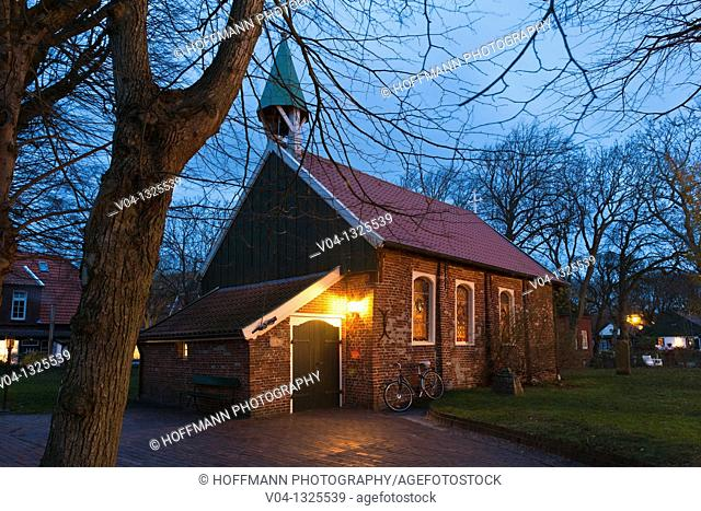 The Old Island Church on the island of Spiekeroog at night, Lower Saxony, Germany, Europe