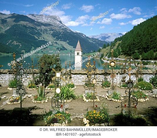 Church tower of Reschen in the Reschen reservoir, taken from the cemetery of Graun, South Tyrol, Italy, Europe