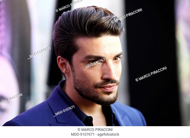 The model and fashion influencer Mariano Di Vaio posing on the red carpet at the national premiere of the film Alice Through the Looking Glass staged at Palazzo...