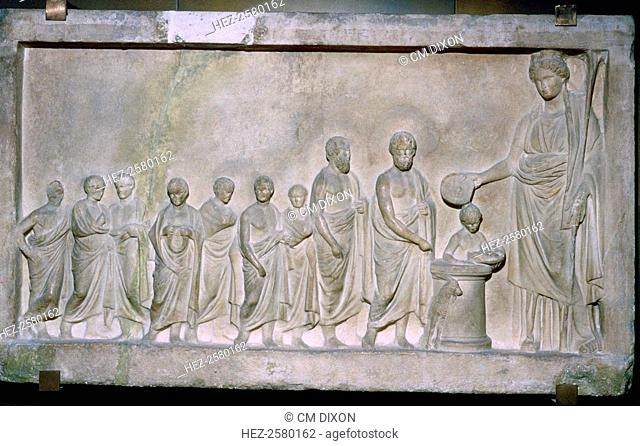 Greek relief of a sacrifice to Demeter, 4th century BC