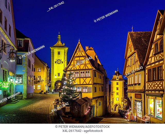 Siebers Tower, Ploenlein and Kobolzell Gate, Rothenburg ob der Tauber, Romantic Road, Franconia, Bavaria, Germany, Europe