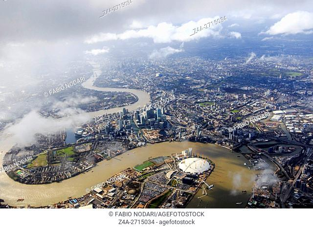 Aerial view of London with the river Thames
