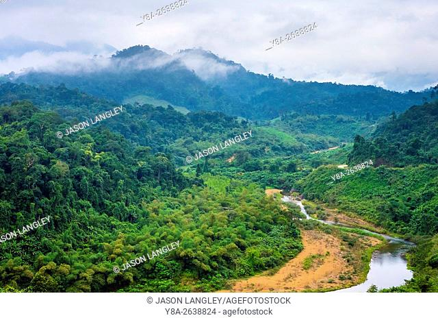 Jungle landscape along Ho Chi Minh Highway West, Quang Ninh District, Quang Bình Province, Vietnam