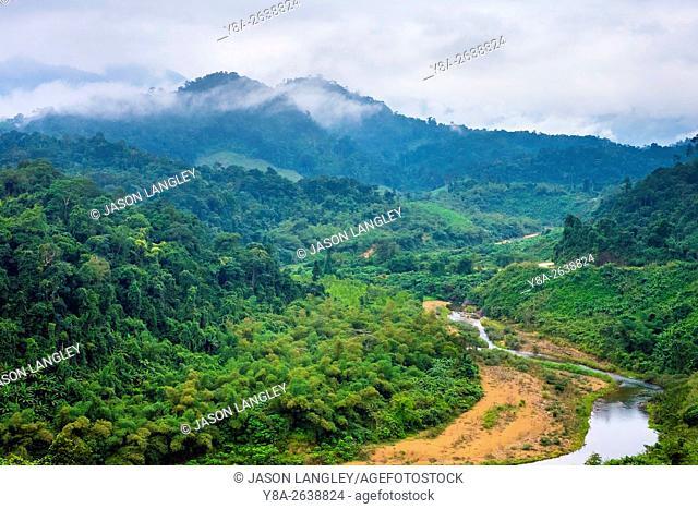 Jungle landscape along Ho Chi Minh Highway West, Quang Ninh District, Quang Bình Province, Vietnam