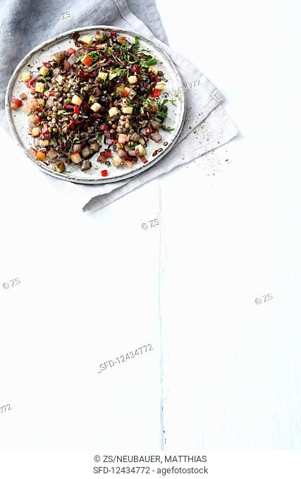 Lentil and chard salad with apple