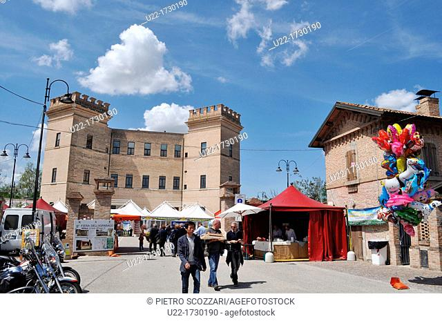 Mesola, Emilia-Romagna, Italy: the Castle and some fair stands during the annual Asparagus Feast, in April