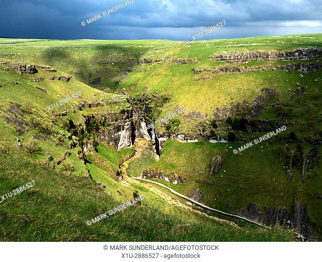 Sunlight on Gordale Scar after a Thunderstorm near Malham North Yorkshire England