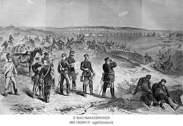 Saxons attacking near Sainte-Marie-aux-Chenes on August 18th 1870, historic illustration, illustrated war chronicle 1870 to 1871, German campaign against France
