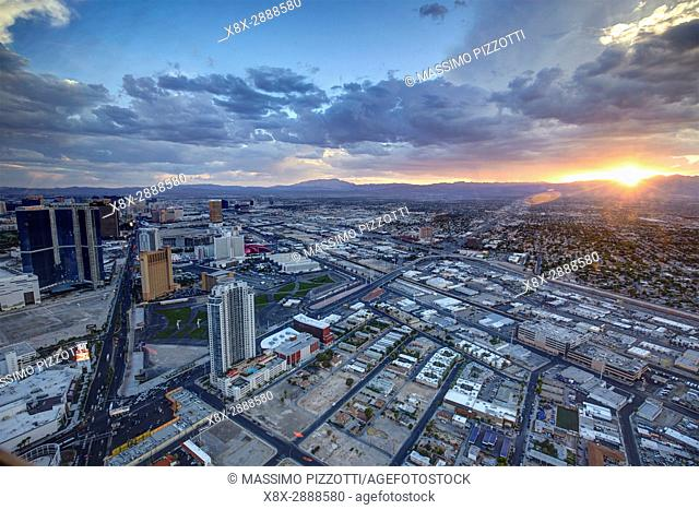 A view of Las Vegas looking from the Stratosphere Tower, Las Vegas, Nevada, United States