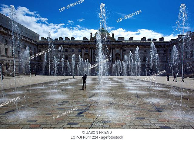 England, London, Somerset House. Fountains in the Edmond J. Safra Fountain Court at Somerset House