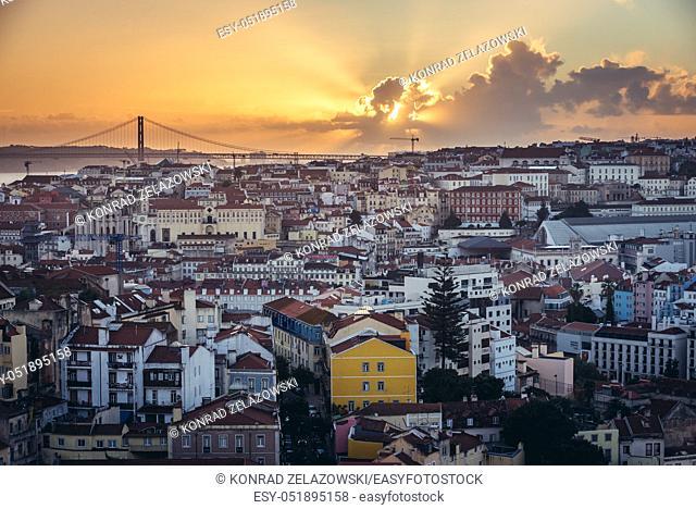 Sunset seen from Miradouro Sophia de Mello Breyner Andresen also known as Miradouro da Graca viewing point in Lisbon, Portugal