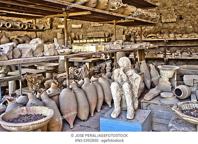 Archaeological material warehouse, Excavations of Pompeii, was an ancient Roman town destroyed by volcan Mount Vesuvius, Pompei, comune of Pompei, Campania